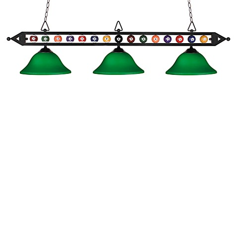 ELK Lighting Designer Classics 3-Light Billiard/Island Fixture in Matte Black/Green