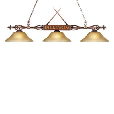 Elk Lighting Designer Classics 3-Light Billiard/Island Fixture in Wood Patina/Amber Shades