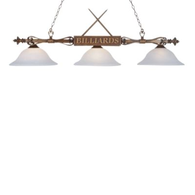 Elk Lighting Designer Classics 3-Light Billiard/Island Fixture in Wood Patina/White Shades