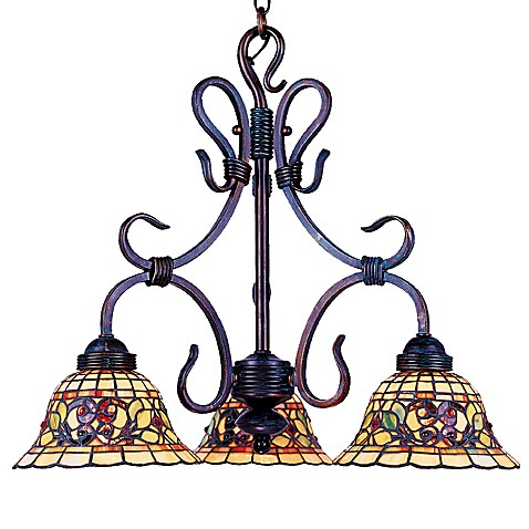 ELK Lighting Buckingham Tiffany 3-Light Chandelier in Vintage Antique