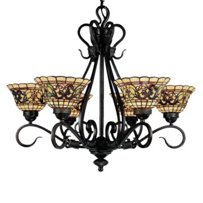 ELK Lighting Buckingham Tiffany 6-Light Chandelier in Vintage Antique