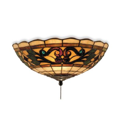 Elk Lighting Tiffany Buckingham 2-Light Fan Kit and Ceiling Mount in Bone Glass