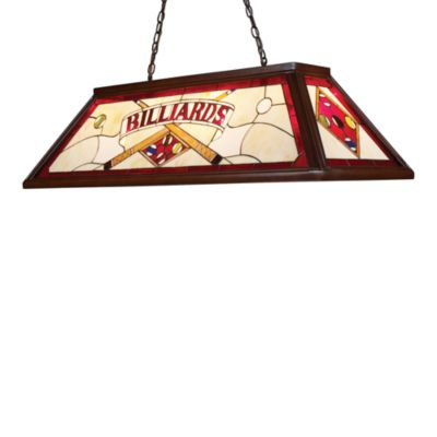 Landmark Lighting Tiffany 4-Light Billiard/Island Light in Dark Mahogany/Red