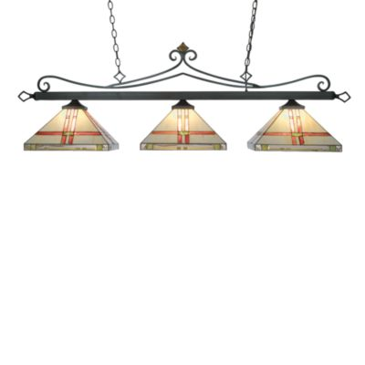 Landmark Lighting Tiffany 3-Light Island/Billiard Light insquare Shades