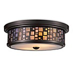 Elk Lighting Tiffany Flushes 2-Light Flush Mount Ceiling Lamp in Oiled Bronze/Tea Glass