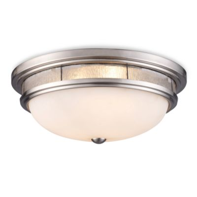 ELK Lighting Tiffany 3-Light Flush Mount in Satin Nickel/White Glass