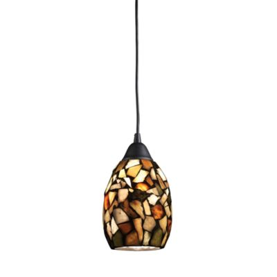 Elk Lighting Trego 1-Light Pendant w/Multicolored Stone in Dark Rust
