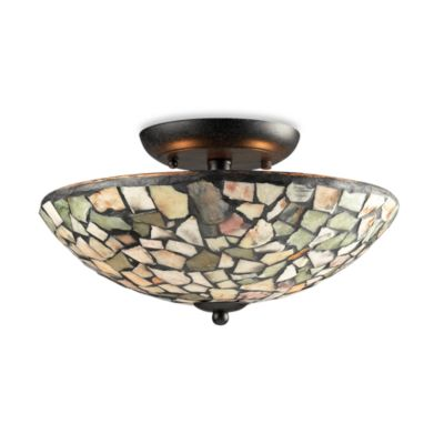 Elk Lighting Trego 2-Light Semi-Flush w/Multi-Colored Stone in Dark Rust