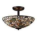 ELK Lighting Trego 3-Light Semi-Flush w/Multi-Colored Stone in Dark Rust