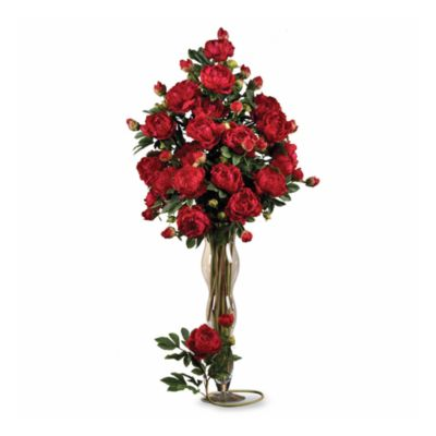 Nearly Natural Peonies Bouquet in Red