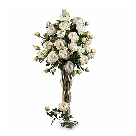 Nearly Natural Peonies Bouquet in White