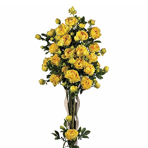 Nearly Natural Peonies  Bouquet in Yellow