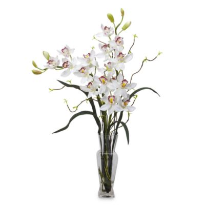 Nearly Natural Cymbidium Silk Flower Arrangement in White