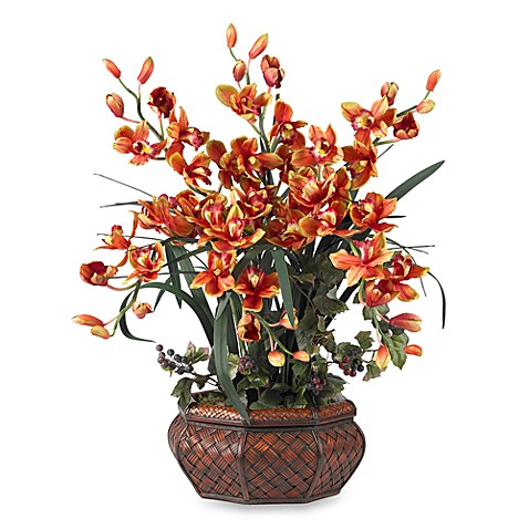 Nearly Natural Large Cymbidium Silk Flower Arrangement - Burgundy
