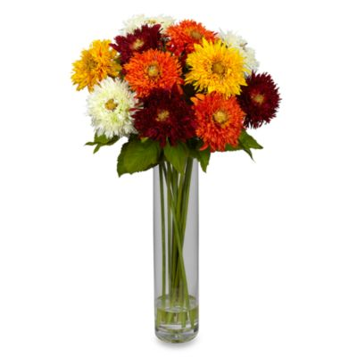Nearly Natural Sunflower with CylinderVase Silk Flower Arrangement in Assorted