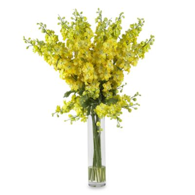 Nearly Natural Delph in ium Silk Flower Arrangement in Yellow
