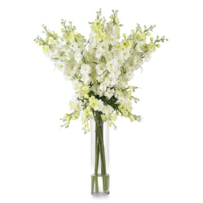 Nearly Natural White Delphinium Silk Flower Arrangement