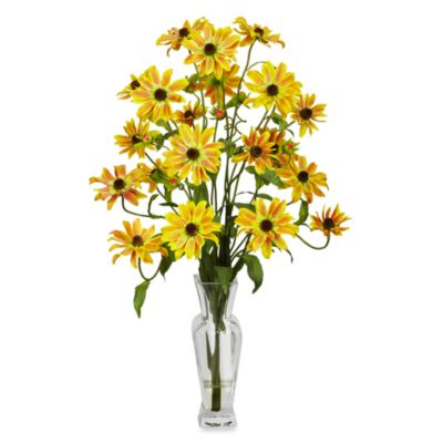 Nearly Natural Cosmos with Vase Silk Flower Arrangement in Yellow
