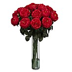 Nearly Natural Fancy Rose Silk Flower Arrangement in Red