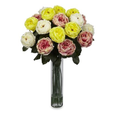 Nearly Natural Fancy Rose Silk Flower Arrangement in Assorted Pastels