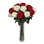Nearly Natural Fancy Rose Silk Flower Arrangement in Red & White