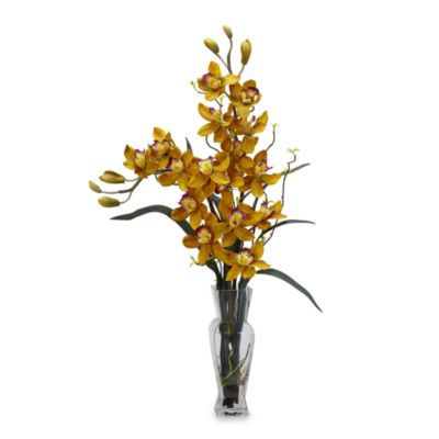 Nearly Natural Cymbidium Silk Flower Arrangement in Yellow