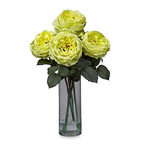 Nearly Natural Fancy Rose with Cylinder Vase Silk Flower Arrangement - Yellow