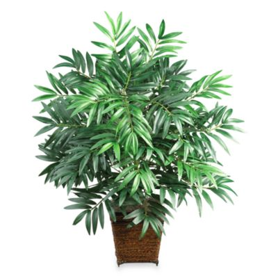 Nearly Natural 32-Inch Bamboo Palm Silk Plant with Wicker Basket