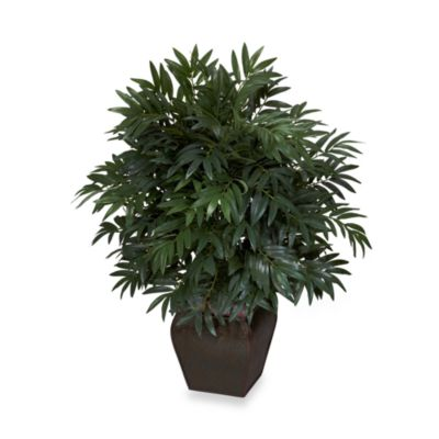 Nearly Natural 43-Inch Double Bamboo Palm with Decorative Planter
