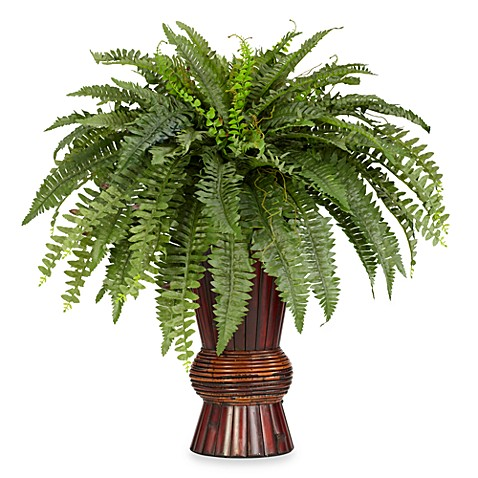 Nearly Natural Boston Fern Silk Plant with Bamboo Vase