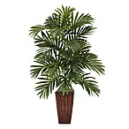 Nearly Natural Areca Palm Silk Plant with Bamboo Vase