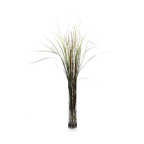 Nearly Natural Grass and Bamboo Silk Plant with Cylinder