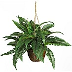 Nearly Natural Boston Fern Silk Plant Hanging Basket