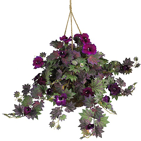 Nearly Natural Morning Glory Silk Plant Hanging Basket