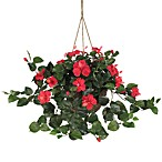 Nearly Natural Hibiscus Silk Plant Hanging Basket