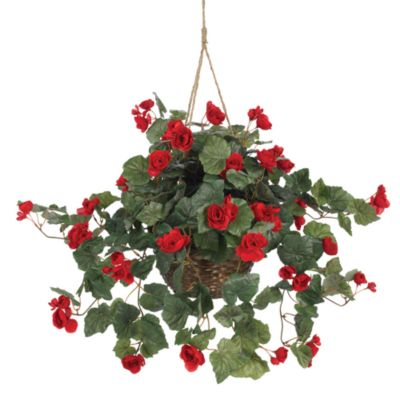 Nearly Natural Begonia Silk Plant Hanging Basket