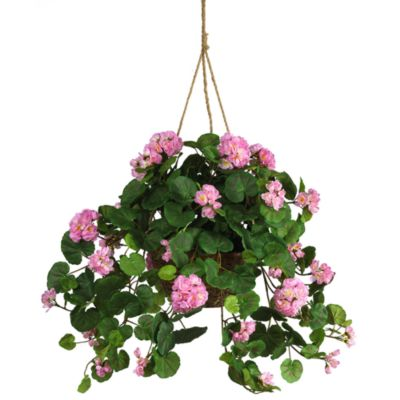 Nearly Natural Geranium Silk Plant Hanging Basket in Pink