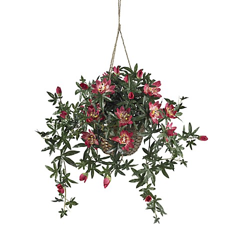 Nearly Natural Passion Flower Silk Plant Hanging Basket