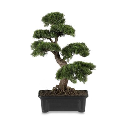 Nearly Natural 24-Inch Silk Cedar Bonsai Tree