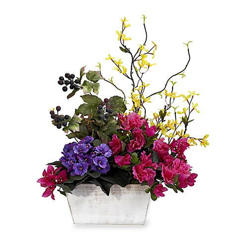 Nearly Natural Silk Mixed Floral and Azalea Arrangement w/White Wash Planter