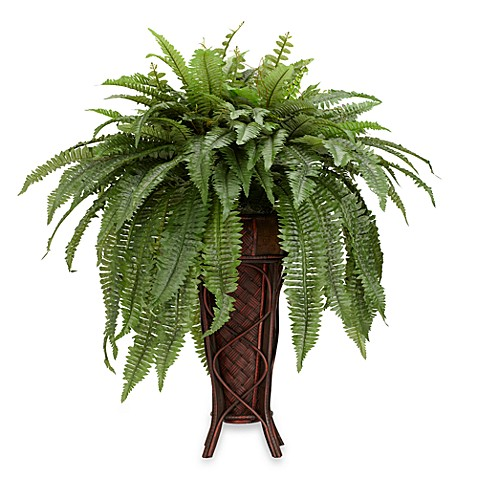 Nearly Natural Silk Boston Fern Plant w/Stand