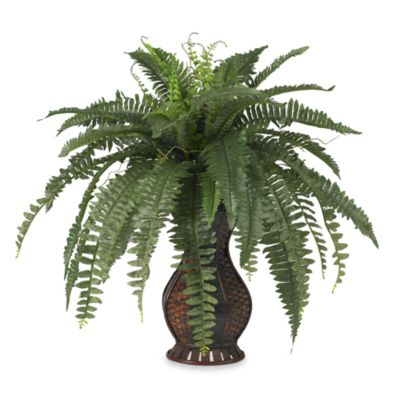 Nearly Natural Silk Boston Fern Plant w/Urn