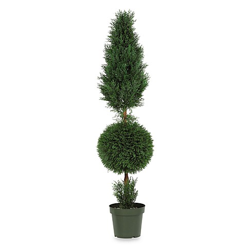 Nearly Natural Indoor/Outdoor 5' Silk Cypress Ball and Cone Tree