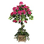 Nearly Natural Silk Bouga in villea Topiary Tree w/Wood Box