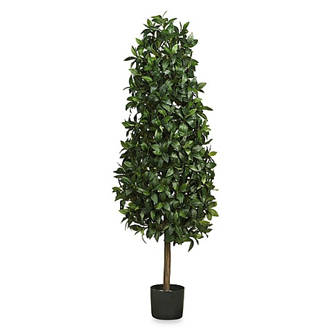 Nearly Natural 5' Silk Sweet Bay Pyramid Tree
