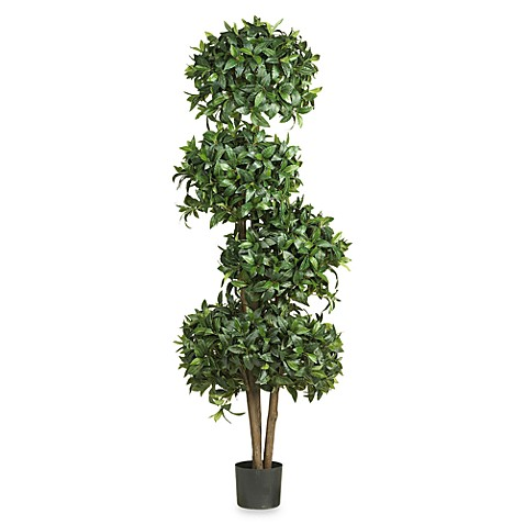 Nearly Natural 69-Inch Silk Sweet Bay Four Ball Topiary Tree