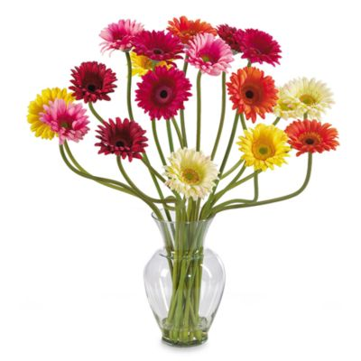 Nearly Natural Silk Gerber Daisy Liquid Illusion Arrangement in MultiColor