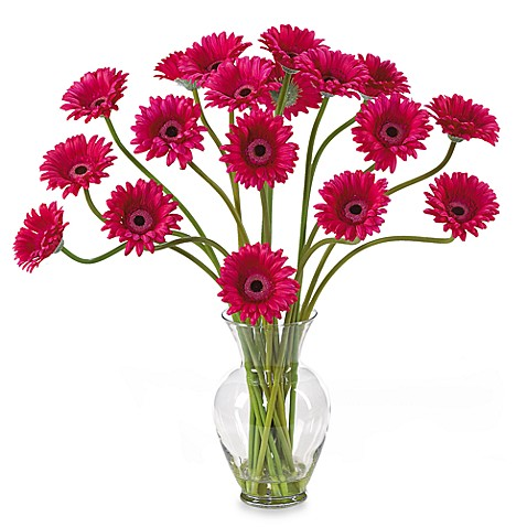 Nearly Natural Silk Gerber Daisy Liquid Illusion Arrangement- Beauty Pink