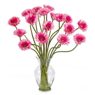 Nearly Natural Silk Gerber Daisy Liquid Illusion Arrangement in Pink