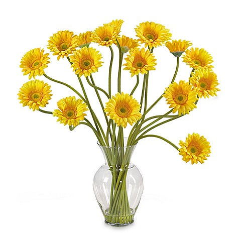 Nearly Natural Silk Gerber Daisy Liquid Illusion Arrangement in Yellow